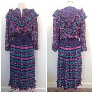 Vintage Assorti Susan Freis 80s Ruffle Print Dress